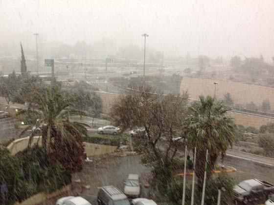 Снег в Иерусалиме. Израиль